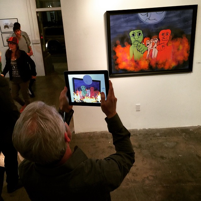 On Trial Augmented Reality (AR) demoed by artist Daniel Leighton at his March 2015 solo show at the Los Angeles Center for Digital Art (LACDA). Photo by Hijinx PR and Management